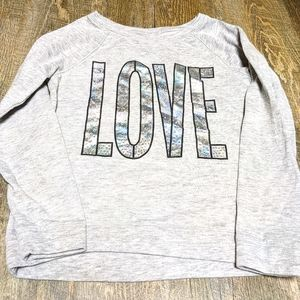 3/$20 Justice Love Bling Grey Sweatshirt Size 12
